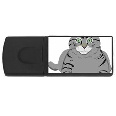 Cat Kitty Gray Tiger Tabby Pet Rectangular Usb Flash Drive by Sapixe
