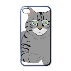 Cat Kitty Gray Tiger Tabby Pet Apple Iphone 4 Case (black) by Sapixe
