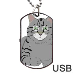 Cat Kitty Gray Tiger Tabby Pet Dog Tag Usb Flash (two Sides) by Sapixe
