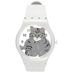 Cat Kitty Gray Tiger Tabby Pet Round Plastic Sport Watch (m)
