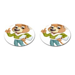Dog Pet Dressed Point Papers Cufflinks (oval) by Sapixe