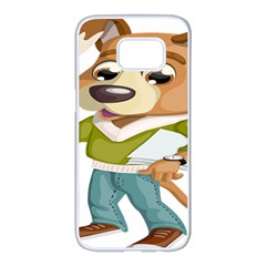 Dog Pet Dressed Point Papers Samsung Galaxy S7 Edge White Seamless Case