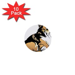 Dog Sitting Pet Collie Animal 1  Mini Buttons (10 Pack)