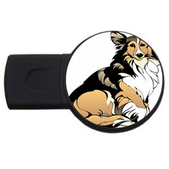 Dog Sitting Pet Collie Animal Usb Flash Drive Round (4 Gb) by Sapixe