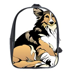 Dog Sitting Pet Collie Animal School Bag (xl) by Sapixe