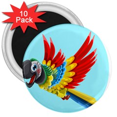 Parrot Animal Bird Wild Zoo Fauna 3  Magnets (10 Pack)  by Sapixe