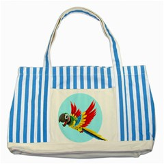 Parrot Animal Bird Wild Zoo Fauna Striped Blue Tote Bag by Sapixe