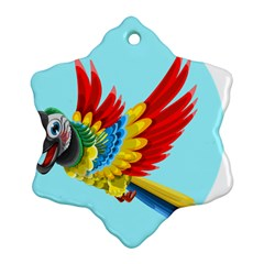 Parrot Animal Bird Wild Zoo Fauna Snowflake Ornament (two Sides)