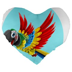 Parrot Animal Bird Wild Zoo Fauna Large 19  Premium Flano Heart Shape Cushions