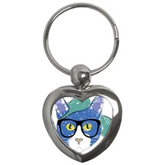Drawing Cat Pet Feline Pencil Key Chains (heart)  by Sapixe