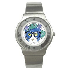 Drawing Cat Pet Feline Pencil Stainless Steel Watch by Sapixe