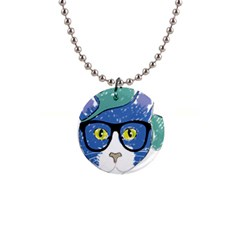 Drawing Cat Pet Feline Pencil Button Necklaces