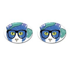 Drawing Cat Pet Feline Pencil Cufflinks (oval) by Sapixe