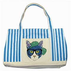 Drawing Cat Pet Feline Pencil Striped Blue Tote Bag by Sapixe