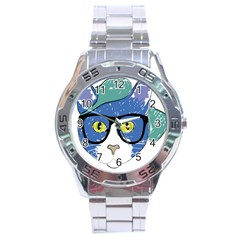 Drawing Cat Pet Feline Pencil Stainless Steel Analogue Watch by Sapixe