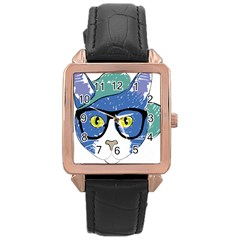 Drawing Cat Pet Feline Pencil Rose Gold Leather Watch
