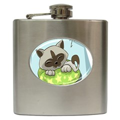 Kitten Kitty Cat Sleeping Sleep Hip Flask (6 Oz) by Sapixe