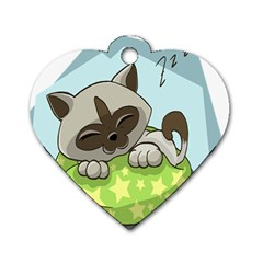 Kitten Kitty Cat Sleeping Sleep Dog Tag Heart (two Sides) by Sapixe