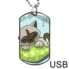 Kitten Kitty Cat Sleeping Sleep Dog Tag Usb Flash (one Side)