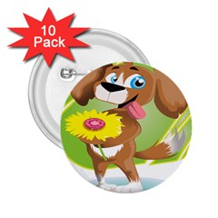 Dog Character Animal Flower Cute 2 25  Buttons (10 Pack)