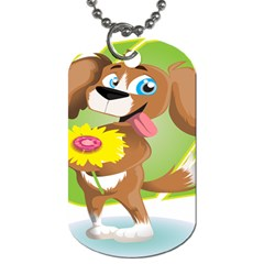 Dog Character Animal Flower Cute Dog Tag (one Side)