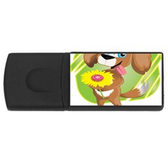 Dog Character Animal Flower Cute Rectangular Usb Flash Drive by Sapixe