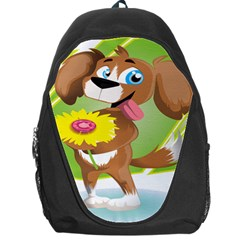 Dog Character Animal Flower Cute Backpack Bag by Sapixe