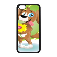 Dog Character Animal Flower Cute Apple Iphone 5c Seamless Case (black)