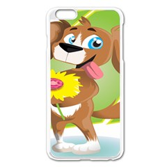 Dog Character Animal Flower Cute Apple Iphone 6 Plus/6s Plus Enamel White Case by Sapixe
