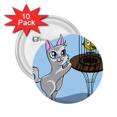 Cat Bird Cage Hunt Hunting Pet 2 25  Buttons (10 Pack)  by Sapixe