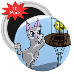 Cat Bird Cage Hunt Hunting Pet 3  Magnets (10 Pack)  by Sapixe