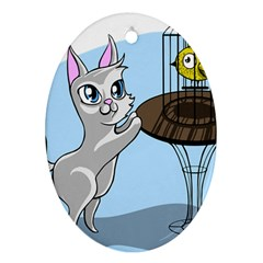 Cat Bird Cage Hunt Hunting Pet Oval Ornament (two Sides) by Sapixe