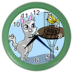 Cat Bird Cage Hunt Hunting Pet Color Wall Clocks by Sapixe