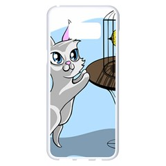 Cat Bird Cage Hunt Hunting Pet Samsung Galaxy S8 Plus White Seamless Case