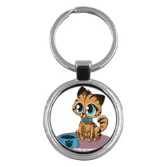 Kitty Cat Big Eyes Ears Animal Key Chains (round)