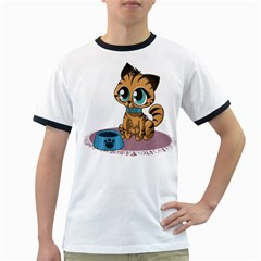 Kitty Cat Big Eyes Ears Animal Ringer T Shirts by Sapixe