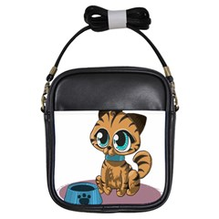 Kitty Cat Big Eyes Ears Animal Girls Sling Bags by Sapixe