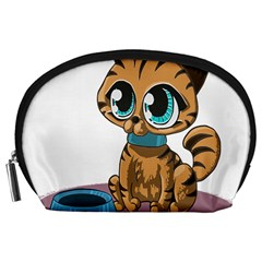 Kitty Cat Big Eyes Ears Animal Accessory Pouches (large)  by Sapixe
