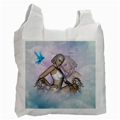Fairy In The Sky With Fantasy Bird Recycle Bag (one Side) by FantasyWorld7