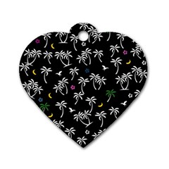 Tropical Pattern Dog Tag Heart (two Sides) by Valentinaart