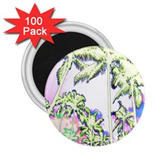 Palm Trees Tropical Beach Scenes Coastal Sketch Colored Neon 2 25  Magnets (100 Pack)  by CrypticFragmentsColors