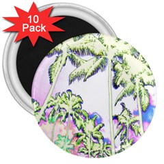 Palm Trees Tropical Beach Scenes Coastal Sketch Colored Neon 3  Magnets (10 Pack)  by CrypticFragmentsColors