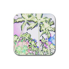 Palm Trees Tropical Beach Scenes Coastal Sketch Colored Neon Rubber Square Coaster (4 Pack)  by CrypticFragmentsColors