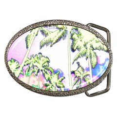 Palm Trees Tropical Beach Scenes Coastal Sketch Colored Neon Belt Buckles by CrypticFragmentsColors