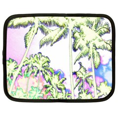 Palm Trees Tropical Beach Scenes Coastal Sketch Colored Neon Netbook Case (large) by CrypticFragmentsColors