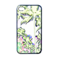 Palm Trees Tropical Beach Scenes Coastal Sketch Colored Neon Apple Iphone 4 Case (black) by CrypticFragmentsColors