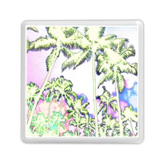 Palm Trees Tropical Beach Scenes Coastal Sketch Colored Neon Memory Card Reader (square)  by CrypticFragmentsColors