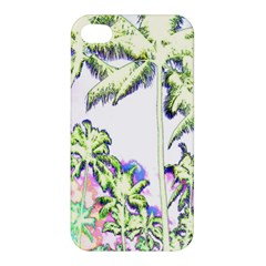 Palm Trees Tropical Beach Scenes Coastal Sketch Colored Neon Apple Iphone 4/4s Premium Hardshell Case by CrypticFragmentsColors