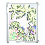 Palm Trees Tropical Beach Scenes Coastal Sketch Colored Neon Apple iPad 3/4 Case (White) Front