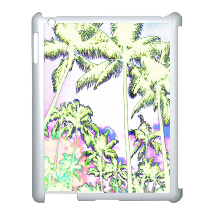 Palm Trees Tropical Beach Scenes Coastal Sketch Colored Neon Apple iPad 3/4 Case (White)